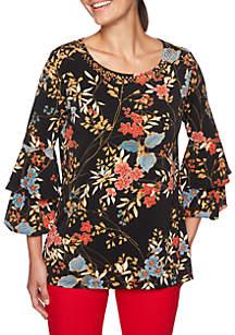 Velvet Crush Embellished Floral Printed Knit Top
