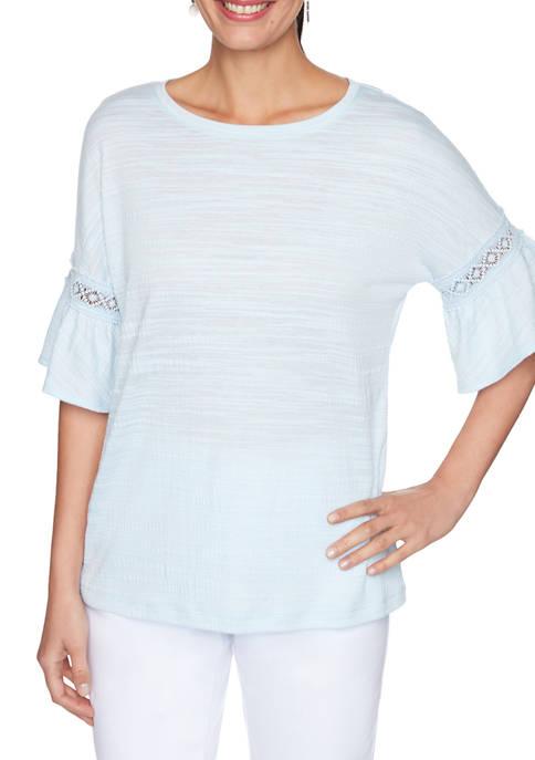 Womens Textured Flounce Sleeve Top
