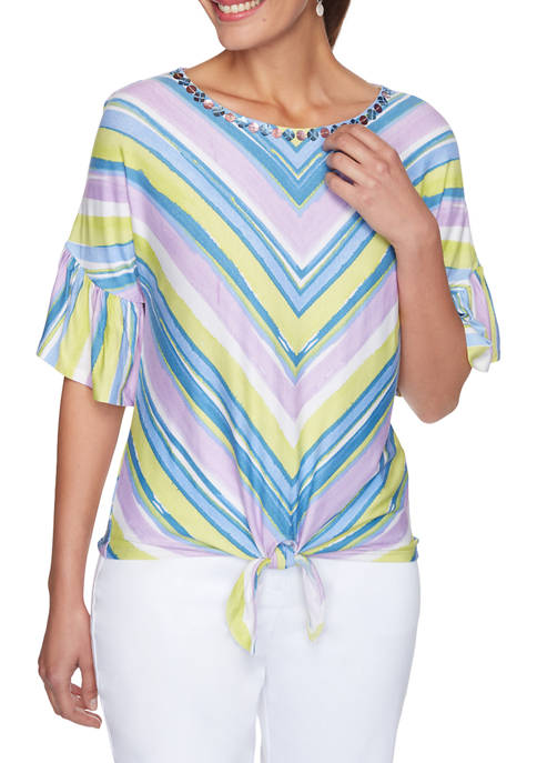 Womens Embellished Striped Tie Front Top