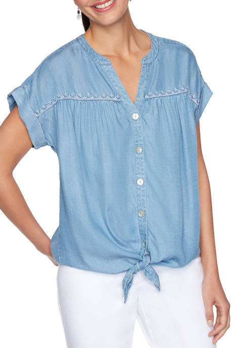 Womens Embroidered Button Up Top