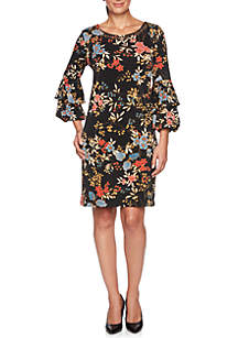 Velvet Crush Embellished Floral Knit Dress