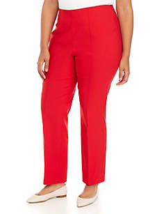 Plus Size Pull-On Silk Red Pant