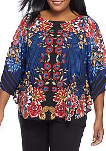 Plus Size Floral Printed Georgette Top