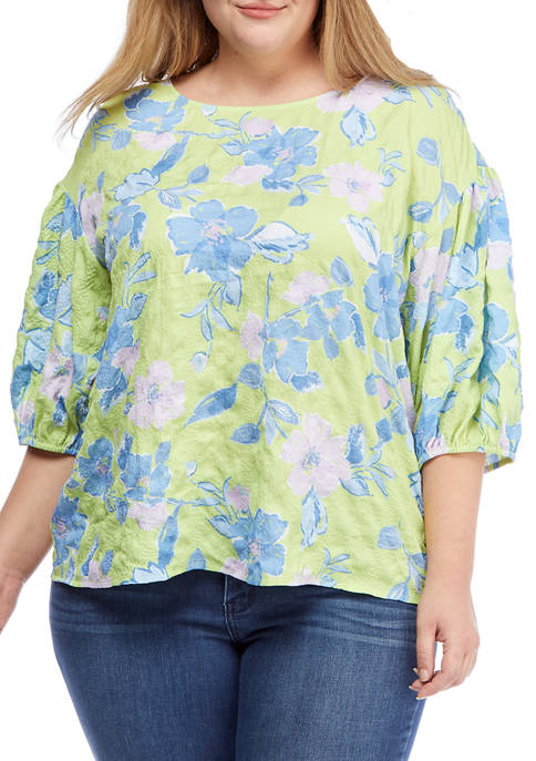 Plus Size Floral Puckered Textured Puff Sleeve Top