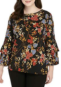 Plus Size Velvet Crush Embellished Floral Printed Knit Top
