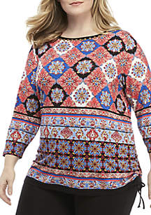 Ruby Rd Plus Size Embellished Medallion Print Top