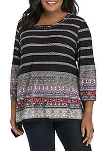 Plus Size Velvet Crush Sharkbite Embellished Knit Top