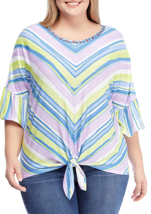 Plus Size Embellished Striped Tie Front Top
