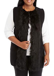 Plus Size Velvet Fur Trim Crush Sweater Vest