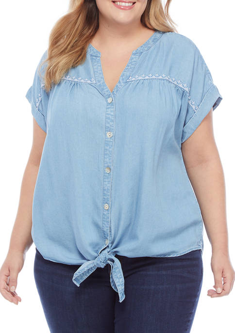 Plus Size Lovely Day Embroidered Tencel® Button-Up Top
