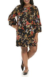 Plus Size Velvet Crush Embellished Floral Knit Dress