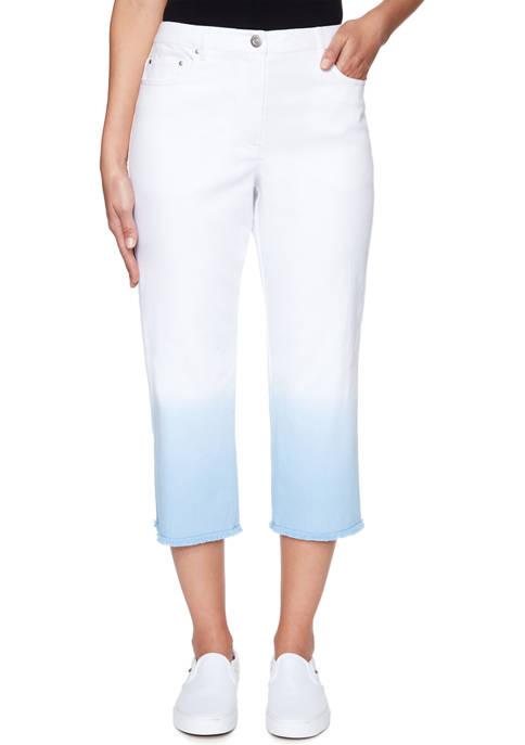 Petite Fly Front Soft Stretch Dip Dye Capri Pants