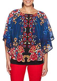 Petite Velvet Crush Floral Printed Georgette Top