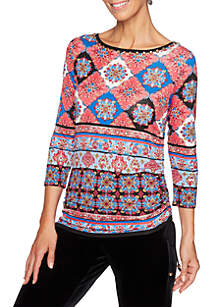 Petite Velvet Crush Printed Side Ruched Top