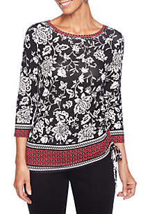 Petite Velvet Crush Embellished Foulard Printed Knit Top