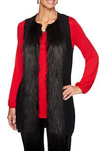 Petite Velvet Crush Fur Trim Sweater Vest