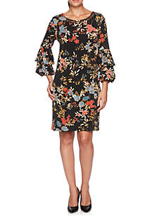Petite Velvet Crush Embellished Floral Knit Dress