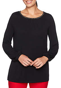Petite Velvet Crush Embellished Scoop Neck Knit Top