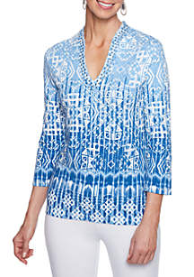 Must Haves Embroidered Geometric Border Knit Top