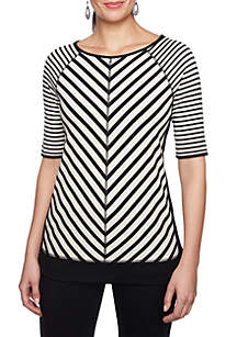 Three-Quarter Sleeve Stripe Shirt