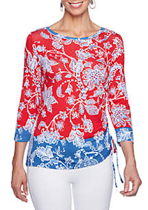 Petite Size Must Haves Paisley Vine Print with Side Ruch Top