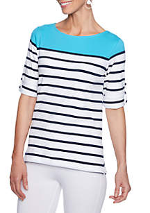 Petite Size Must Haves Striped Knit Top