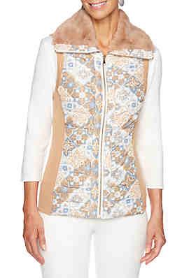 Ruby Rd Warm and Cozy Foulard Print Vest ... 856a3384f6