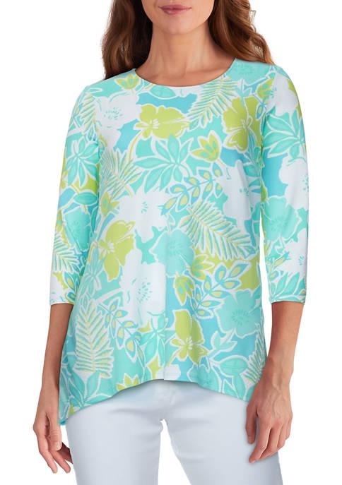 Womens Happy Daze Floral Puff Printed Handkerchief Top