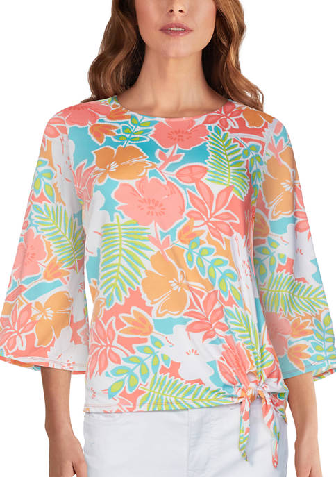 Ruby Rd Womens Floral Puff Printed Top with
