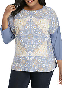 fd496851f7b ... Ruby Rd Plus Size Warm and Cozy Embellished Ballet Neck Floral Printed  Top