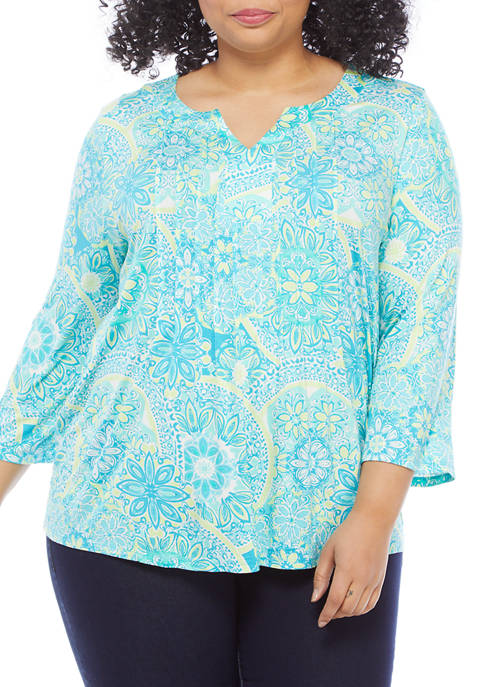 Plus Size Happy Daze 3/4 Sleeve Top