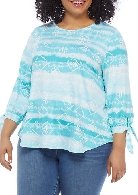 Ruby Rd Plus Size 3/4 Bow Sleeve Printed