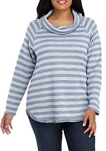 Ruby Rd Plus Size Warm and Cozy Slub Terry Metallic Knit Top