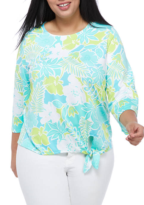 Plus Size Floral Puff Printed Top with Side Tie Hem