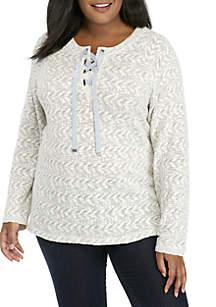 Ruby Rd Plus Size Warm and Cozy Lace Chevron Striped Slub Knit Top