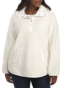 Plus Size Warm and Cozy Faux Sherling Knit Pullover
