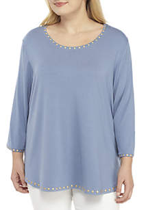 Plus Size Warm & Cozy Embellished Scoop Neck Top