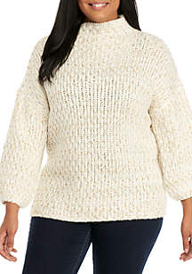 Warm and Cozy Plus Size Pullover Metallic Slub Sweater