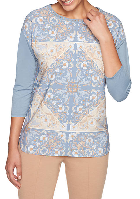 Petite Warm and Cozy Floral Print Top