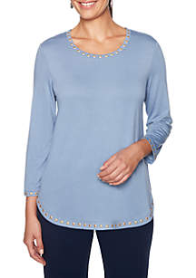 Petite Warm and Cozy Embellished Top