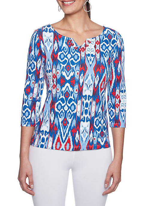 Ruby Rd Must Haves Embroidered Sarape Ikat Print