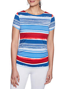 Must Haves Paint Stripe Ruched Top