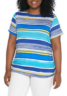 Plus Size Must Haves Paint Stripe With Side Ruching Top
