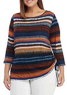 Plus Size Must Haves Ikat Stripe Side Ruched Top