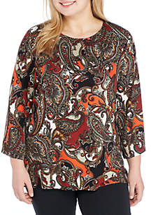 Plus Size Must Haves Swirls Paisley Bell Sleeve Top