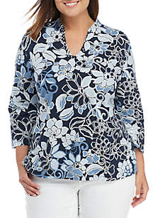 Plus Size Must Haves Floral Funnel Neck Top