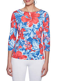 Petite Size Must Have Embroidered Neck Tropical Print Top