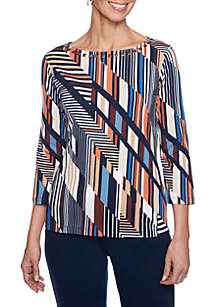 Petite Size Must Haves Geometric Striped Boat Neck Tee