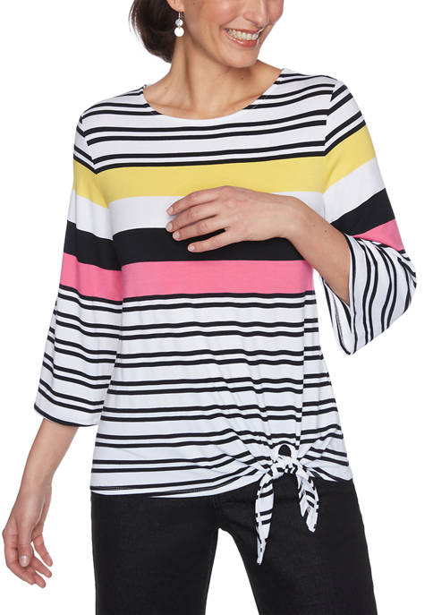 Ruby Rd Womens Color Crush Stripe Side Tie