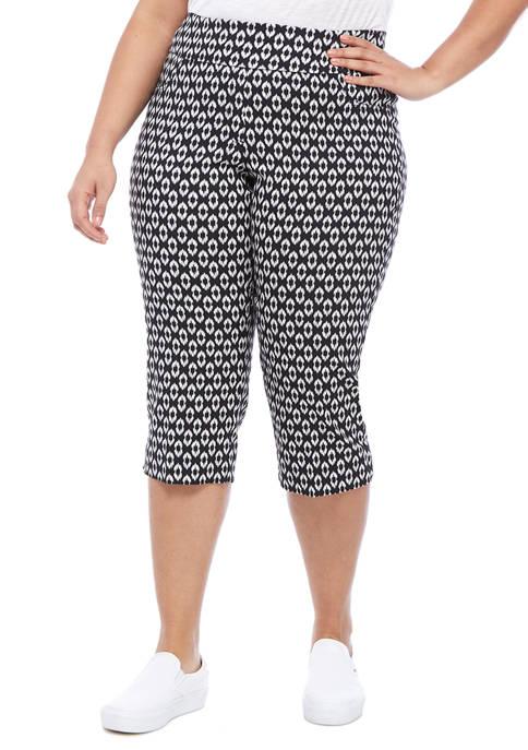 Plus Size Color Crush Printed Capri Pants